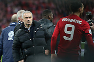 Zlatan Ibrahimovic of Manchester Utd ® and Manchester Utd manager Jose Mourinho at the end of the game. EFL Cup Final 2017, Manchester Utd v Southampton at Wembley Stadium in London on Sunday 26th February 2017. pic by Andrew Orchard, Andrew Orchard sports photography.