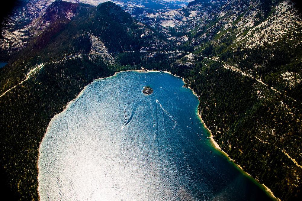 Aerial Shot of Lake Tahoe Shoreline & Mountain Range
