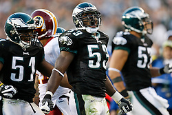 Philadelphia Eagles linebacker Moise Fokou #53 reacts after a play during the NFL game between the Washington Redskins and the Philadelphia Eagles on November 29th 2009. The Eagles won 27-24 at Lincoln Financial Field in Philadelphia, Pennsylvania. (Photo By Brian Garfinkel)