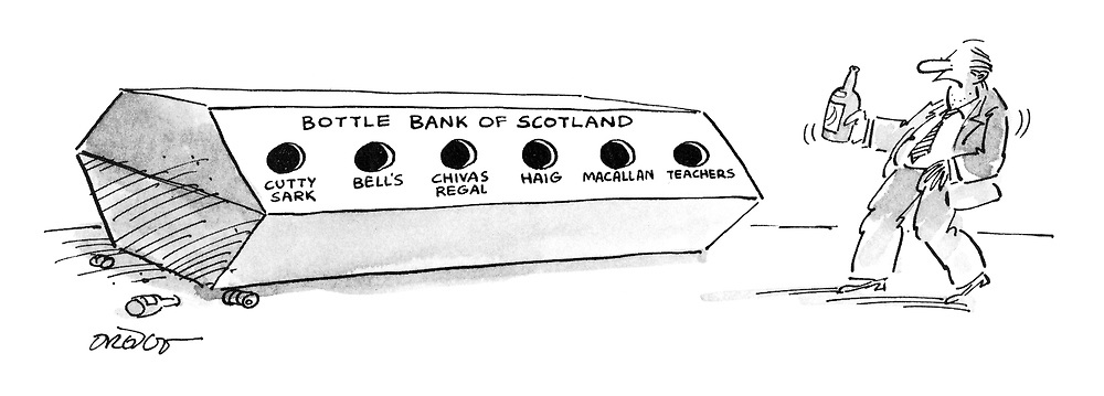 (Bottle bank of Scotland with holes for different brands of whisky)