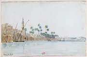 View of Manfaloot'. Watercolour.  John Gardner Wilkinson (1797-1875) English explorer and Egyptologist. Town by River Nile,  with minaret, palm trees, and boats at anchor. Egypt