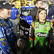 Race car drivers Ricky Stenhouse Jr. and girlfriend Danica Patrick are seen on the starting grid prior to the NASCAR Sprint Unlimited Race at Daytona International Speedway on Saturday, February 15,  2014 in Daytona Beach, Florida.  (AP Photo/Alex Menendez)