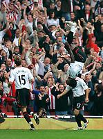 Photo: Tom Dulat.<br /> Arsenal v Sunderland. The FA Barclays Premiership. 07/10/2007.<br /> Kenwyne Jones(in the air) celebrates his goal for Sunderland, 2-2