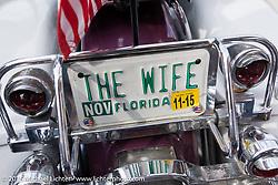 License plate of Debra Norris' (Perry, FL) 1969 Harley-Davidson Shovelhead during Daytona Beach Bike Week 2015. FL, USA. March 14, 2015.  Photography ©2015 Michael Lichter.