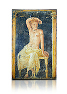 Detail of the Roman fresco wall painting of a young man resting from the  triclinium,  a formal dining room, of the Villa Arianna (Adriana), Stabiae (Stabia) near Pompeii , inv 9093, Naples National Archaeological Museum, white background .<br /> <br /> If you prefer to buy from our ALAMY PHOTO LIBRARY  Collection visit : https://www.alamy.com/portfolio/paul-williams-funkystock - Scroll down and type - Roman Fresco Naples  - into LOWER search box. {TIP - Refine search by adding a background colour as well}.<br /> <br /> Visit our ROMAN ART & HISTORIC SITES PHOTO COLLECTIONS for more photos to download or buy as wall art prints https://funkystock.photoshelter.com/gallery-collection/The-Romans-Art-Artefacts-Antiquities-Historic-Sites-Pictures-Images/C0000r2uLJJo9_s0 .<br /> <br /> If you prefer to buy from our ALAMY PHOTO LIBRARY  Collection visit : https://www.alamy.com/portfolio/paul-williams-funkystock - Scroll down and type - Roman Fresco Naples  - into LOWER search box. {TIP - Refine search by adding a background colour as well}.<br /> <br /> Visit our ROMAN ART & HISTORIC SITES PHOTO COLLECTIONS for more photos to download or buy as wall art prints https://funkystock.photoshelter.com/gallery-collection/The-Romans-Art-Artefacts-Antiquities-Historic-Sites-Pictures-Images/C0000r2uLJJo9_s0