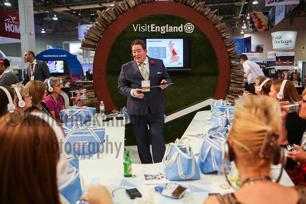 Visit England presents to a crowd at the IMEX America Expo at the Sands Expo and Convention Center in Las Vegas, NV.