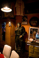 A statue of Che Guevara stands at Volver seafood restaurant in Ushuaia, Argentina.