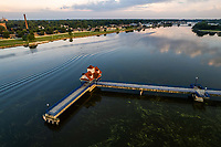 The Bay City Riverwalk Pier is on the Bay City loop which is a walkway around the Saginaw River in Bay City.