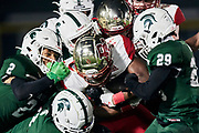 WAYNE, NJ - October 23: The Crusaders take the field in a hostile environment and get punched in the mouth, immediately trailing 10-0. As the nerves settle in, so did Bergen - they go on to scamper for 28 unanswered points to take a halftime lead.<br /> <br /> We are in the midst of witnessing something this world has never experienced - a global pandemic. The coronavirus has swept away the world in March of 2020 - since then, the world we know It hasn't been the same. Jobs, businesses and futures have been put on hold and lost, yet, we have to power through to overcome one of the greatest obstacles this we have faced. The high school football season wasn't suppose to happen, but a glimmer of hope, intense safety measures & a little bit of luck has allowed for the season to start, now the question is ' Can It be completed?'<br /> <br /> Photo by Johnnie Izquierdo