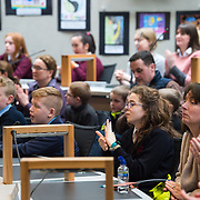 05/03/2019<br /> <br /> Fairtrade worker Sara Montoya, from a Fairtrade Coffee Co-op in Colombia was the special guest in Limerick City and County Council chamber today at an event to coincide with Fairtrade Fortnight.<br />  <br /> Sara joined Fairtrade supporters from across Limerick and Ireland for the annual initiative, which features a programme of talks and community events aimed at promoting awareness of Fairtrade and Fairtrade-certified products.<br />  <br /> Speaking at the event in Dooradoyle, Sara outlined the success and benefits of the Fairtrade movement in Colombia and how important it is for people in the developed world think of Fairtrade products when shopping.<br />  <br /> This year's campaign 'Create Fairtrade' invites us all to use our imagination and create fairtrade in our lives.<br />  <br /> Young people from across Limerick city and county were also a focus of the event as they displayed their posters, which they created to help change the way people think about trade and the products on our shelves.<br /> Photo by Diarmuid Greene