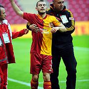 Galatasaray's Yekta KURTULUS during their Turkish superleague soccer derby match Galatasaray between Trabzonspor at the TT Arena in Istanbul Turkey on Sunday, 10 April 2011. Photo by TURKPIX