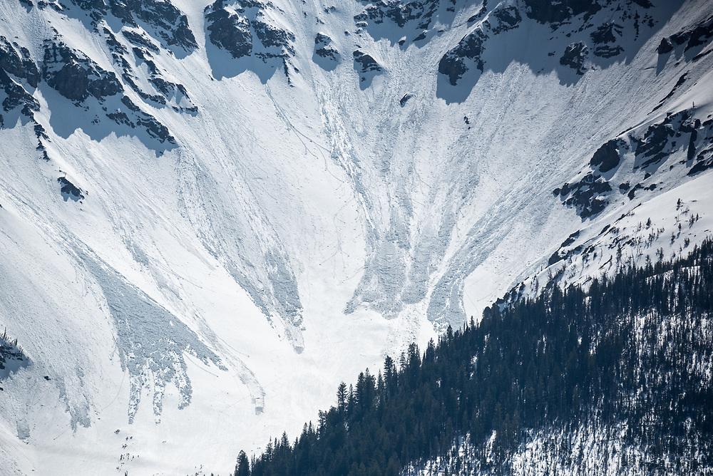 Spring avalanches on Chief Joseph Mountain,  Wallowa Mountains, Oregon.