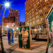 Public art displays at the 10th and Main transit center in downtown Kansas City, Missouri.