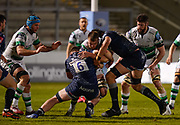 Sale Sharks lock Lood De Jager and flanker Cobus Wiese combine to tackle Newcastle Falcons No.8 Callum Chick during a Gallagher Premiership Round 12 Rugby Union match, Friday, Mar 05, 2021, in Eccles, United Kingdom. (Steve Flynn/Image of Sport)