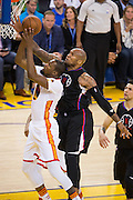 Golden State Warriors forward Kevin Durant (35) takes the ball to the basket against LA Clippers center Marreese Speights (5) at Oracle Arena in Oakland, Calif., on January 28, 2017. (Stan Olszewski/Special to S.F. Examiner)
