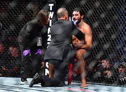 "Nov 12, 2016 - New York, New York, U.S. - Rafael ""Sapo"" Natal (red gloves) vs. Tim ""The Barbarian"" Boetsch (blue gloves) during UFC 205 at Madison Square Garden. (Credit Image: ? Jason Silva/ZUMA Wire/ZUMAPRESS.com)"