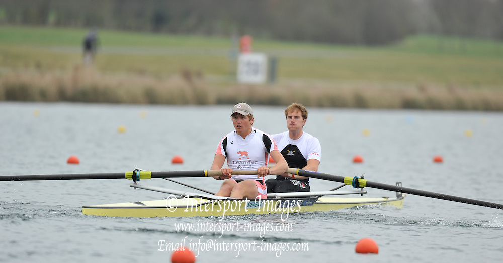 Eton, United Kingdom  GBR M2- Bow. George NASH, and Constantine LOULOUDIS, at the start of their heat of the men's pair at the 2012 GB Rowing Senior Trials, Dorney Lake. Nr Windsor, Berks.  Saturday  10/03/2012  [Mandatory Credit; Peter Spurrier/Intersport-images]