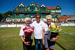 LIVERPOOL, ENGLAND - Sunday, June 24, 2018: Tournament director Anders Borg presents flowers to Liverpool Cricket Club volunteers Jean Arnold, (l) and Pam Langford during day four of the Williams BMW Liverpool International Tennis Tournament 2018 at Aigburth Cricket Club. (Pic by Paul Greenwood/Propaganda)