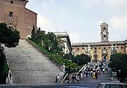 Steps to the Palazzo Senatorio Senators' Palace and Piazza del Campidoglio,  Rome, Italy 1974