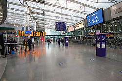 © Licensed to London News Pictures. 05/01/2021. Manchester, UK. Manchester Piccadilly station is seen deserted as England entered a seven-week national lockdown from Tuesday, January 5, until the end of the February half term .  Photo credit: Ioannis Alexopoulos/LNP