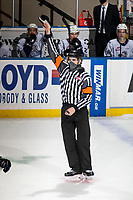 KELOWNA, BC - MARCH 29: Referee Josh Albinati stands on the ice at the Victoria Royals against the Prince George Cougars at Prospera Place on March 29, 2021 in Kelowna, Canada. (Photo by Marissa Baecker/Shoot the Breeze)