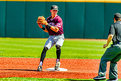 20 May 2019:  Nikola Vasic tags 2nd for the force and delivers the ball to 1st for a possible double playall monitored by Tim Winningham. Missouri Valley Conference Baseball Tournament - Southern Illinois Salukis v Illinois State Redbirds at Duffy Bass Field in Normal IL<br /> <br /> #MVCSPORTS