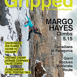 Sarah Hueniken on the cover of Grippedv19i6 climbing Nasty Habits, M7+ in Field, BC