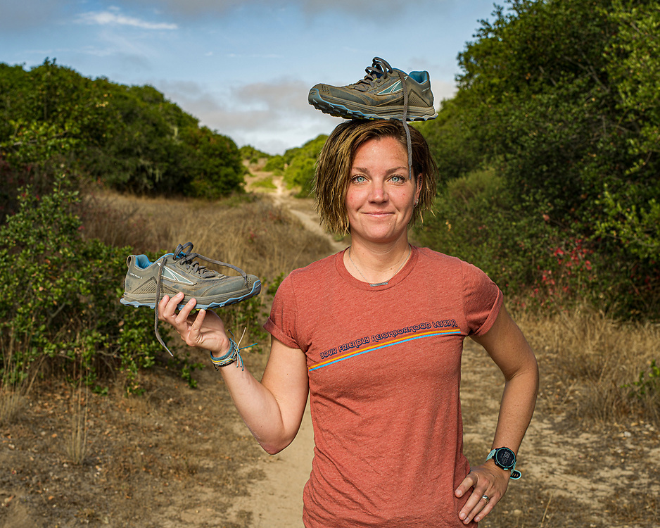 CSU Monterey Bay kinesiology professor Dr. Maria Bellumori stands on a trail near Fort Ord National Monument in Marina, Calif. on July 28, 2021 where two days prior she ran 50 miles as a personal challenge.