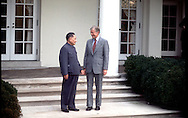 A 28 MG IMAGE OF:.President Jimmy Carter with Teng Hsiao-Ping in the Rose Garden of the White House.Photo by Dennis brack