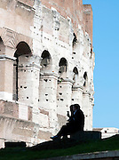 Tourists at The Colosseum, Rome, Italy.
