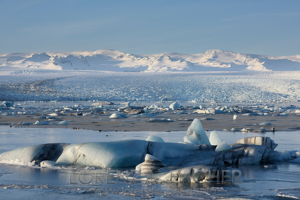 The glacier lagoon Joekulsarlon on a sunny evening in wintertime, Iceland