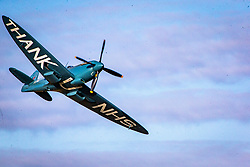 17SEP20 The NHS Spitfire takes of from Cumbernauld Airport on it's flyover Scotland
