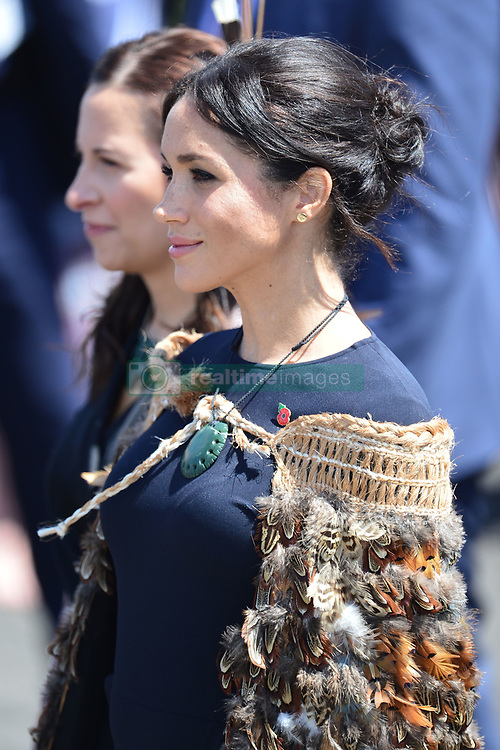 The Duchess of Sussex wears a traditional Maori cloak called a Korowai as she is greeted with a traditional welcome, or powhiri, at Te Papaiouru, Ohinemutu, in Rotorua, before a lunch in honour of Harry and Meghan, on day four of the royal couple's tour of New Zealand.