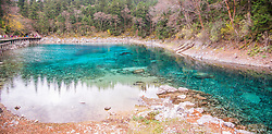 August 16, 2017 - China - Sichuan, CHINA (EDITORIAL USE ONLY. CHINA OUT)..Scenery of the Colorful Pool at Jiuzhaigou Scenic Area in southwest China's Sichuan Province. The earthquake hit Jiuzhaigou Scenic Area on August 8th, 2017, affecting many scenic spots including the Colorful Pool. (Credit Image: © SIPA Asia via ZUMA Wire)