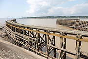 Wooden breakwater jetties at entrance from River Severn, to Sharpness docks, Gloucestershire, England, UK