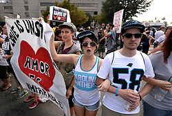 Protesters chant slogans outside Bank of America Stadium Sunday, September 25, 2016 in Charlotte, NC, USA. The Carolina Panthers hosted the Minnesota Vikings in NFL action. Photo by Jeff Siner/Charlotte Observer/TNS/ABACAPRESS.COM
