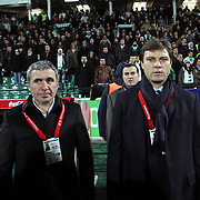 Bursaspor's coach Ertugrul SAGLAM (R) and Galatasaray's coach Gheorghe HAGI (L) during their Turkish soccer super league match Bursaspor between Galatasaray at Ataturk Stadium in Bursa Turkey on Saturday, 29 January 2011. Photo by TURKPIX