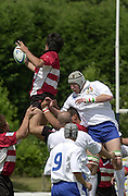 Oxford, England.<br /> <br /> IRB U21 Rugby World Cup - Iffley Road - Oxford <br /> 21.06.2003. Italy vs Japan, [Mandatory Credit: Peter SPURRIER/Intersport Images]  contest the line out ball<br /> Italian jumper Antonio Pavaello<br /> Japanese jumper Masaaki Isooka