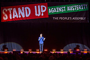 Jen Briester. The Peoples Assembly  presents: Stand Up Against Austerity. Live at the Hammersmith Apollo. London.