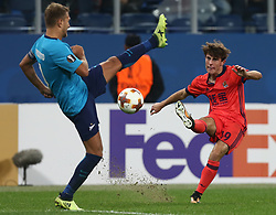September 28, 2017 - Saint Petersburg, Russia - Domenico Criscito of FC Zenit Saint Petersburg (L) and Álvaro Odriozola of FC Real Sociedad vie for the ball during the UEFA Europa League Group L football match between FC Zenit Saint Petersburg and FC Real Sociedad at Saint Petersburg Stadium on September 28, 2017 in St.Petersburg, Russia. (Credit Image: © Igor Russak/NurPhoto via ZUMA Press)