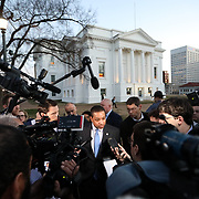 RICHMOND VA - FEBRUARY 4: LT Governor Justin Fairfax addresses the media about a sexual assualt allegation from 2004 outside of the capital building in dowtown Richmond, VA on February 4, 2019. Early Monday morning, Fairfax released a statement on a story about a sexual assult during the 2004 DNC that he is denying. Along with that, demonstrators are calling for the resignation of Virginia Governor, Ralph Northam, after a photo of two people, one dressed as a Klu Klux Klan member and a person in blackface were discovered on his personal page of his college yearbook.  (Logan Cyrus for AFP)