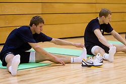 Luka Lapornik and Jaka Blazic during practice session of Slovenian National Basketball team during training camp for Eurobasket Lithuania 2011, on July 12, 2011, in Arena Vitranc, Kranjska Gora, Slovenia. (Photo by Vid Ponikvar / Sportida)