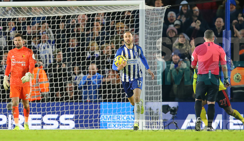 Brighton's Glenn Murray collects the bad after Watford's Adrian Mariappa scores an own goal to make it 1-1 during the Premier League match at the American Express Community Stadium, Brighton and Hove. Picture date: 8th February 2020. Picture credit should read: Paul Terry/Sportimage