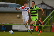 Forest Green Rovers striker Kieffer Moore (14) on the attack 1-1 during the Vanarama National League match between Forest Green Rovers and Dagenham and Redbridge at the New Lawn, Forest Green, United Kingdom on 29 October 2016. Photo by Alan Franklin.