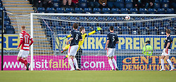 Falkirk's keeper Michael McGovern can't stop Hamilton's Darian Mackinnon shot for their goal.<br /> Falkirk 1 v 1 Hamilton, Scottish Premiership play-off semi-final first leg, played 13/5/2014 at the Falkirk Stadium.
