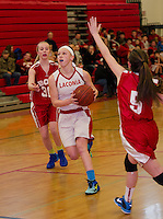 Amelia Clairmont looks to the basket during Laconia Middle School Basketball with Bow on Wednesday afternoon.  (Karen Bobotas/for the Laconia Daily Sun)