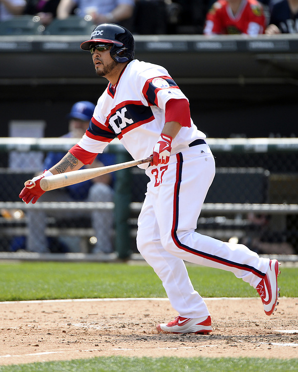 CHICAGO - APRIL 24:  Dioner Navarro #27 of the Chicago White Sox bats against the Texas Rangers on April 24, 2016 at U.S. Cellular Field in Chicago, Illinois.  The White Sox defeated the Rangers 4-1.  (Photo by Ron Vesely)   Subject: Dioner Navarro