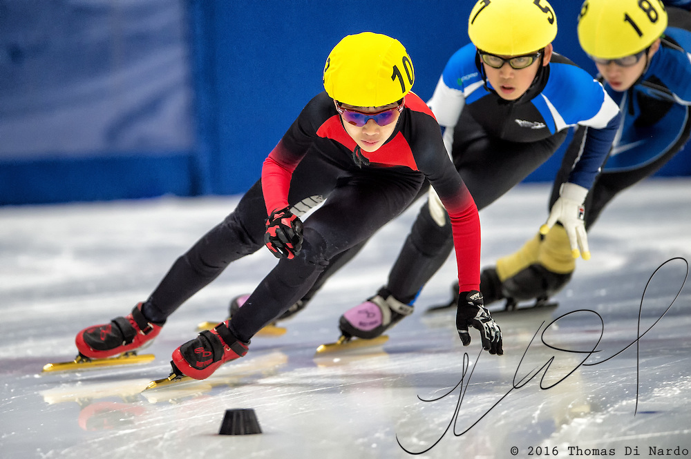 March 20, 2016 - Verona, WI - Matthias Nguyen, skater number 103 competes in US Speedskating Short Track Age Group Nationals and AmCup Final held at the Verona Ice Arena.