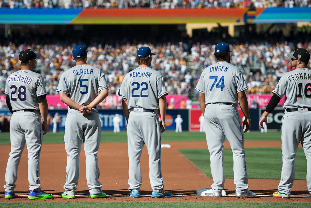 The Dodgers' Corey Seager, Clayton Kershaw and Kenley Jansen are introduced to boos before the 2016 MLB All-Star Game at Petco Park in San Diego on Tuesday.<br /> <br /> ///ADDITIONAL INFO:   <br /> <br /> allstar.0713.kjs  ---  Photo by KEVIN SULLIVAN / Orange County Register  -- 7/12/16<br /> <br /> The 2016 MLB All-Star Game at Petco Park in San Diego.
