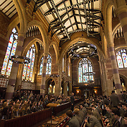 """Pupils attend morning chapel at Rugby School in central England, March 18, 2015.  The public school, founded in 1567 was amongst the first """"Public"""" schools in England. The school is known as the home of rugby. Local legend  states that in 1823 pupil William Webb Ellis first ran with the ball inventing the game of rugby football which took its name from the school. In 2015 20 countries will compete in the Rugby World Cup which is hosted by England REUTERS/Neil Hall"""